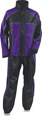 MOTORCYCLE MOTORBIKE RAIN GEAR WOMENS RAIN SUIT WATERPROF LIGHTWEIGHT BLK PURPLE