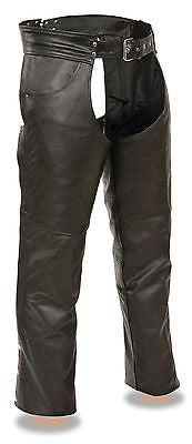 MEN'S MOTORYCLE RIDERS PANT BLK CLASSIC CHAP REAL LEATHER W/JEAN POCKETS NEW