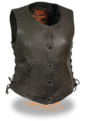 MOTORCYCLE CLASSIC LADIES SIDE LACE VEST W/2 GUN POCKETS INSIDE AND SINGLE PANEL