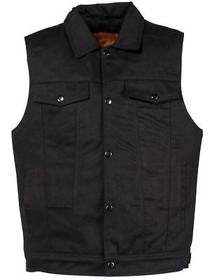 Men's Jean Style with Shirt Collar blk denim motorcycle vest w/2 gun pockets