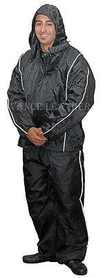 MOTORCYCLE MOTORBIKE RAIN GEAR UNISEX RAIN SUIT WATERPROOF LIGHTWEIGHT BLACK