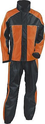 MOTORCYCLE MOTORBIKE RAIN GEAR WOMENS RAIN SUIT WATERPROF LIGHTWEIGHT BLK ORANGE