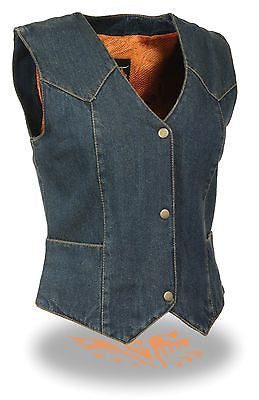 MOTORCYCLE CLASSIC LADIES DENIM OPEN NECK VEST W/3 SNAP BUTTONS