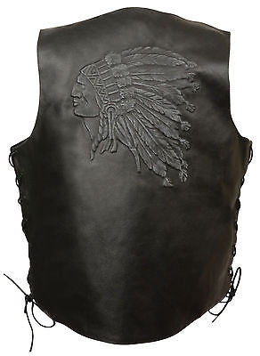 Men's Motorcycle Side Lace Indian Head embossed back blk leather vest