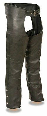 MEN'S MOTORYCLE RIDERS FULLY LINED CLASSIC BASIC CHAP REAL LEATHER