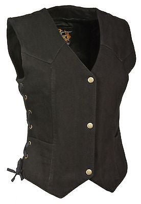 MOTORCYCLE LADIES BLK DENIM OPEN NECK VEST W/4 SNAP BUTTONS W/SIDE LACES