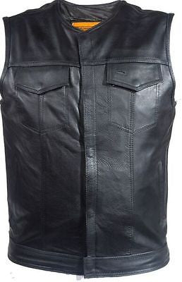 Men's Motorcycle Son Of Anarcy Leather Collarless vest with 2 Gun pockets inside