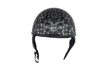 Motorcycle Flat Blk Dot approved Low profile Biker Helmet with Skull graphics