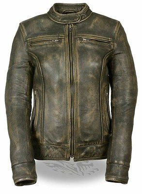 WOMEN'SMOTORCYCLE DISTRESSED BROWN SPORTY SCOOTER JACKET W/2 GUN POCKETS NEW