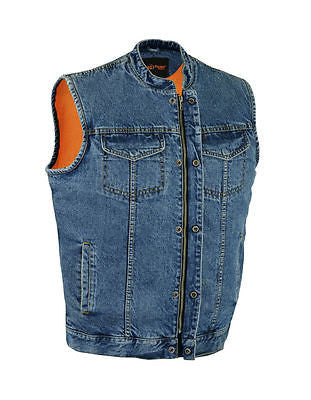 MEN'S SON OF ANARCHY BLUE DENIM MOTORCYCLE VEST 2 GUN POCKETS W/HOLSTERS ZIPPER