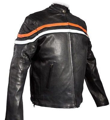 MEN'S MOTORCYCLE SCOOTER REAL LEATHER JACKET WITH ORANGE STRIP REVERSIBLE