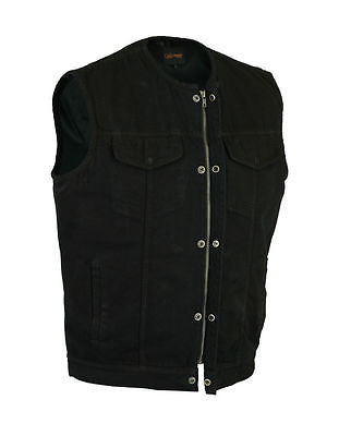 MEN'S SON OF ANARCHY BLACK DENIM COLLARLESS VEST 2 GUN POCKETS W/HOLSTERS ZIPPER