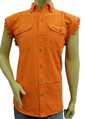Men's Motorcycle Orange Cotton Cut off Frayed Sleeves Shirt