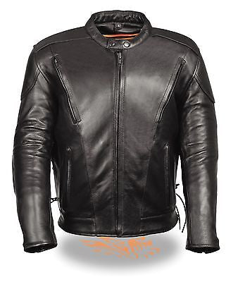 MEN'S MOTORCYCLE BLK SIDELACE VENTED JACKET WITH 2 GUN POCKETS INSIDE UPTO 11X