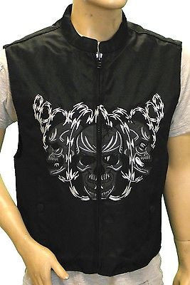 MEN'S MOTORCYCLE BLACK TEXTILE SKULL EMBROIDERED VEST REFLECTIVE SKULL IN NIGHT