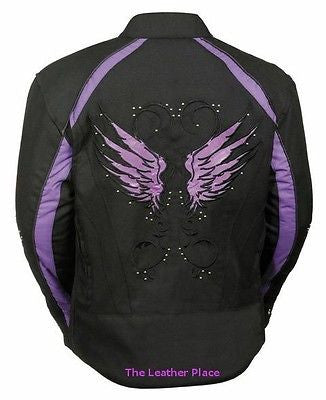WOMEN'S MOTORCYCLE RIDING PURPLE TEXTILE JACKET W/ STUD & WINGS DETAILING