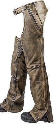 Men's Motorcycle Removable Liner leather distressed retro chap heavy leather