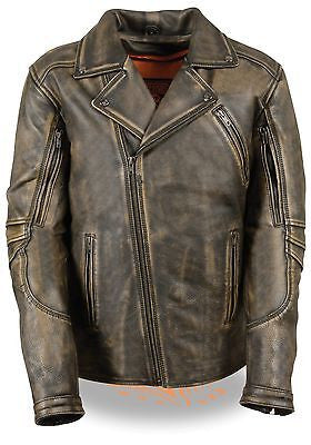 Men's Motorcycle Riding dirstressed retro brn police style leather jacket