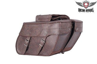 MOTORCYCLE LARGE 2 PC BROWN 2 STRAP PVC SADDLEBAG GREAT PRICE 16 7.25 11