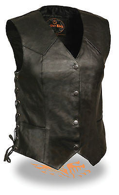 WOMEN'S MOTORCYCLE CLASSIC BIKER VEST W/4 SNAP BUTTONS & SIDE LACES 2 GUN POCKET