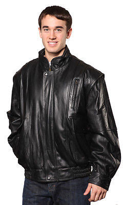 MEN'S BOMBER LEATHER JACKET WITH FUR ZIPOUT LINNING INSIDE COWHIDE LEATHER BLACK