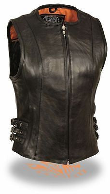 WOMEN'S MOTORCYCLE RIDING LEATHER VEST W/SIDE BUCKLES AND CENTER ZIPPER COW NEW