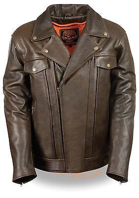 Men's Motorcycle Brn Double Pistole Pete Retro Leather jacket