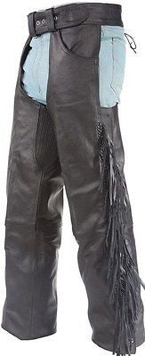 MEN'S MOTORCYCLE REMOVABLE LINER PANT BLK BRAIDED WITH FRINGES LEATHER CHAP