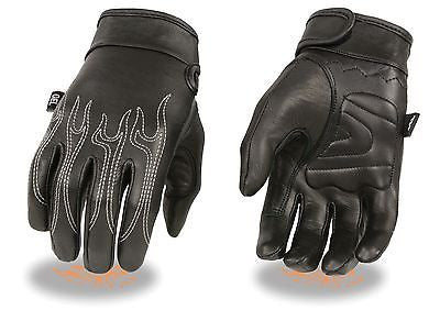 MEN'S BUTTER SOFT TOP QUALITY CRUISER GLOVES W/FLAME EMBRIODERED AND GEL PALM