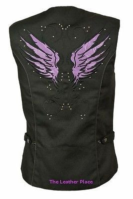 WOMEN'S MOTORCYCLE RIDING PURPLE TEXTILE VEST W/ STUD & WINGS DETAILING