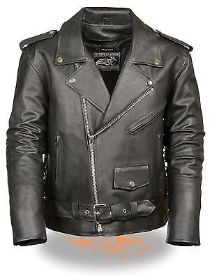 Men's riding classic biker police style Blk Leather jacket with side laces