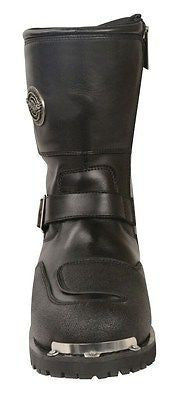 2ac8c58c2de ... MEN S MOTORBIKE LEATHER STRAP BOOT W REFLECTIVE PIPING   GEAR SHIFT  PROTECTION ...