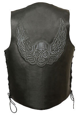 Men's Motorcycle Side Lace Blk leather vest with Skull & Wings back embossed