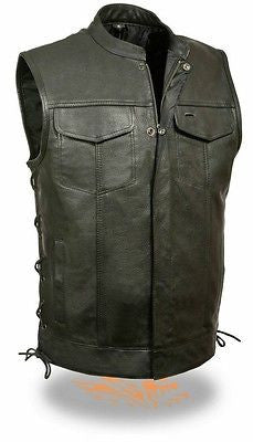 MEN'S MOTORCYLE RIDERS SON OF ANARCHY LEATHER VEST 2 GUN POCKETS WITH SIDE LACES