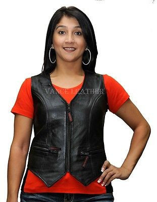 MOTORCYCLE LADIES LEATHER VEST WITH ZIPPERS NEW. COW HIDE WITH TWO ZIPPERS