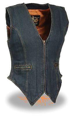 MOTORCYCLE WOMEN'S BLUE DENIM ZIPPER VEST W/SIDE STRETCH SINGLE PANEL BACK