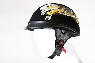 MOTORCYCLE BRAND NEW DOT APPROVED HALF HELMET WITH FLAMING SKULL GRPHIC NEW