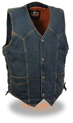 Men's Blue Plain Denim Vest with side laces & 2 Gun pockets inside
