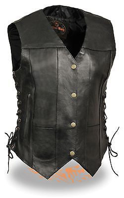 WOMEN'S MOTORCYCLE BLACK 10 POCKET LEATHER VEST WITH SIDE LACES GREAT PRICE