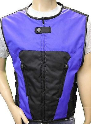 MEN'S BIKER UPDATED BLUE SWAT TEAM STYLE TEXTILE MOTORCYCLE VEST NEW