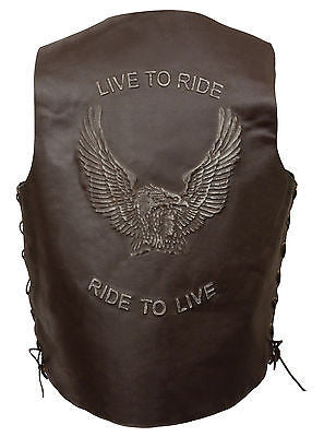 Men's Motorcycle Brn Retro Side Lace Live to ride Leather Vest