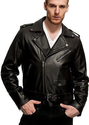 MEN'S CLASSIC M/C SOFT REAL LEATHER JACKET WITH BELT VERY SOFT NZ LAMB SKIN