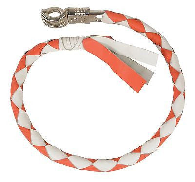 "MOTORCYCLE 39"" WHITE/ORANGE BRAIDED BIKER OLD SCHOOL REAL LEATHER WHIP"