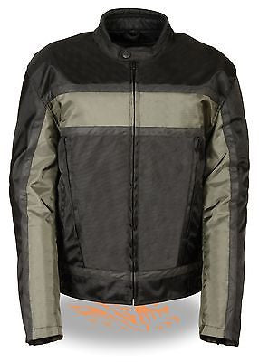 MEN'S MOTORCYCLE RACER GREY TEXTILE JACKET WITH REFLECTIVE STRIPES WITH ARMOUR