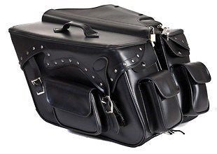 MOTORCYCLE LARGE 2 PC STUDDED PVC SADDLEBAG WITH 2 BONUS POCKETS 19 7.25 12