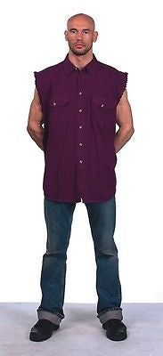 Mens burgandy Cut off Cotton shirt with fryeed sleeves