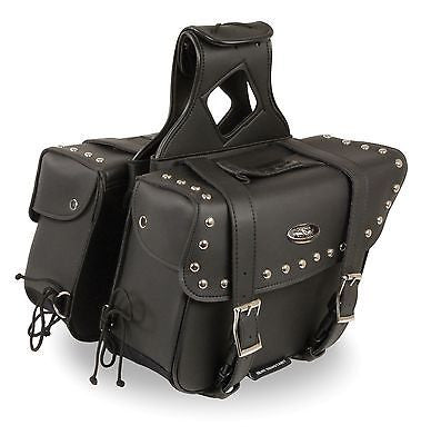 MOTORCYCLE 2PC WATERPROOF MEDIUM STUDDED ZIPOFF PVC SLANTED THROWOVER SADDLEBAG