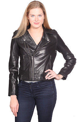 WOMEN'S GENUINE LEATHER JACKET DOUBLE ZIPPER BUTTER SOFT TERMINATOR STYLE
