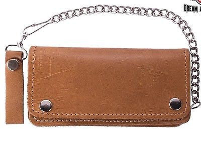 MEN'S MOTORCYCLE TAN/BROWN BIKER BIFOLD LEATHER SILVER CHAIN WALLET NEW