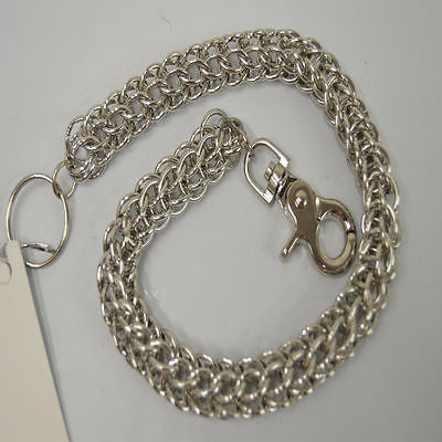 MOTORCYCLE BIKERS SILVER METAL LONG WALLET CHAIN 21 INCHES WITH KEY RING NEW